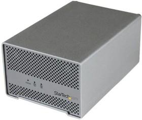 StarTech Dual SATA III Thunderbolt hard drive housing with fan, 2x Thunderbolt 1 (S252SMTB3)