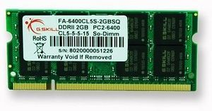 G.Skill Value SO-DIMM 2GB PC2-6400S CL5-5-5-15 (DDR2-800) (FA-6400CL5S-2GBSQ)
