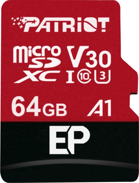 Patriot EP R100/W80 microSDXC 64GB Kit, UHS-I U3, A1, Class 10 (PEF64GEP31MCX)
