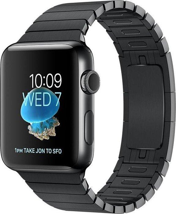 Apple Watch Series 2 Edelstahl 42mm schwarz mit Gliederarmband schwarz (MNQ02ZD)