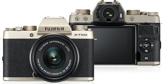 Fujifilm X-T100 gold with lens XC 15-45mm OIS PZ and XC 50-230mm OIS II (4006805)