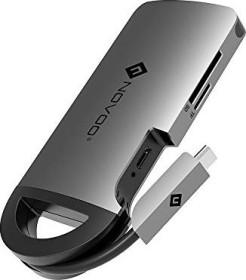 Novoo 8-port USB-C Multiport adapter, grey, USB-C 3.0 [plug] (NVHUBCXGY8PLX)