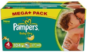 Pampers Baby-Dry Gr.4 Einwegwindel, 7-18kg, 104 Stück
