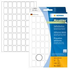 HERMA 10603 Vielzwecketiketten 12x18mm Movables 32 Blatt pro Packung matt weiß