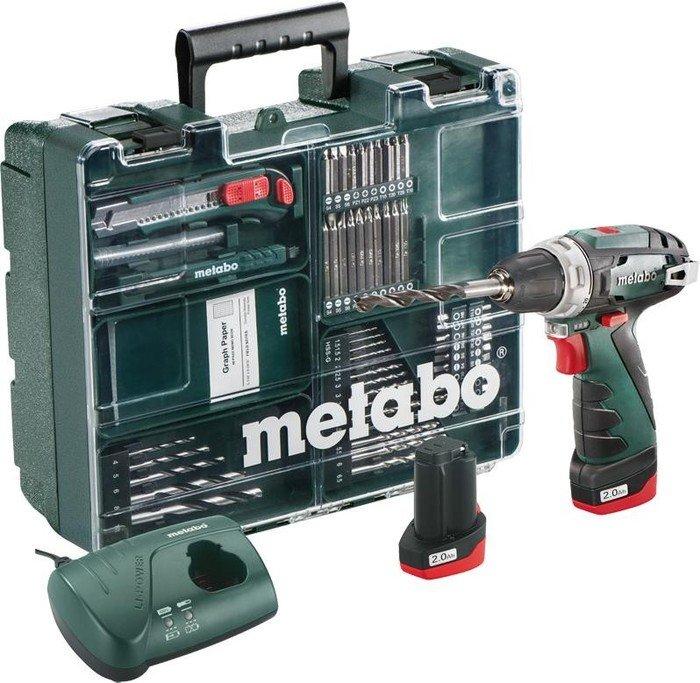 Metabo PowerMaxx BS Basic Set Akku-Bohrschrauber inkl. Koffer + 2 Akkus 2.0Ah + Zubehör (600080880)