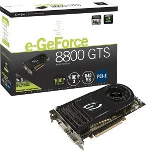 EVGA e-GeForce 8800 GTS (G80),  96 Shader, 640MB DDR3, 2x DVI, TV-out, PCIe (640-P2-E821-AR)