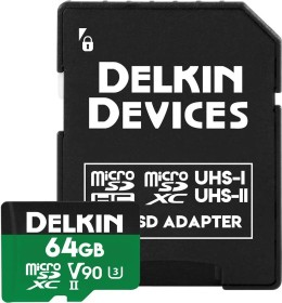 Delkin Power 2000X R300/W250 microSDXC 64GB Kit, UHS-II U3, Class 10 (DDMSDG200064)