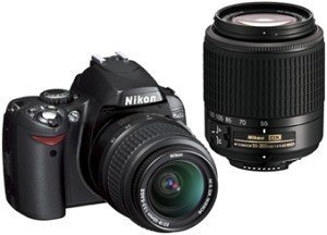 Nikon D40 black with lens AF-S DX 18-55mm and 55-200mm (VBA150K002)