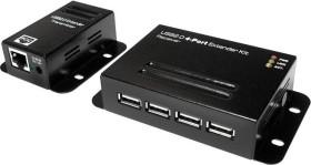 LogiLink Cat.5 Ethernet extender, black, 4-port, RJ-45, USB 2.0 (UA0252)