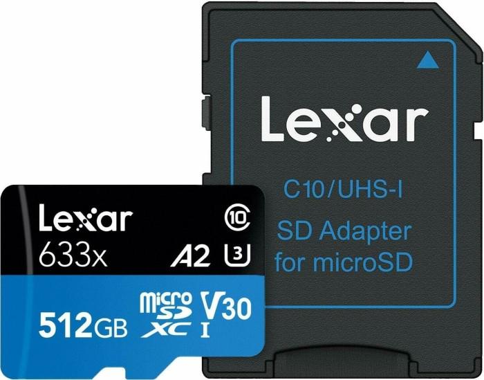 Lexar High-Performance 633x R100/W70 microSDXC 512GB Kit, UHS-I U3, A2, Class 10 (LSDMI512BBEU633A)