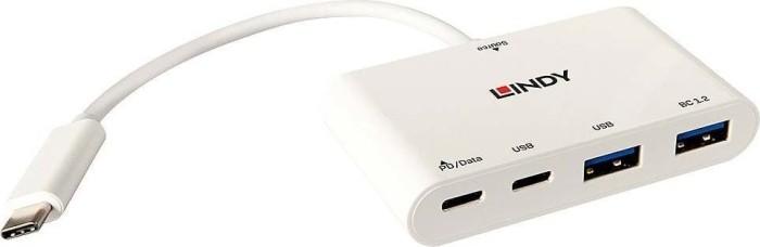 Lindy USB-Hub, 2x USB-C 3.1/2x USB-A 3.0, USB-C 3.1 [Stecker] (43093)