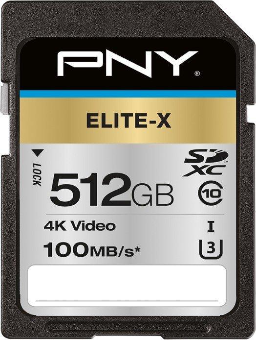 PNY Elite-X R100 SDXC 512GB, UHS-I U3, Class 10 (P-SD512U3100EX-GE)