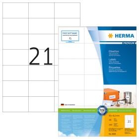 Herma Etiketten Premium 70x42.3mm, weiß, 100 Blatt (4668)