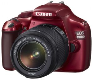 Canon EOS 1100D (SLR) red with lens EF-S 18-55mm 3.5-5.6 IS II (5162B015)