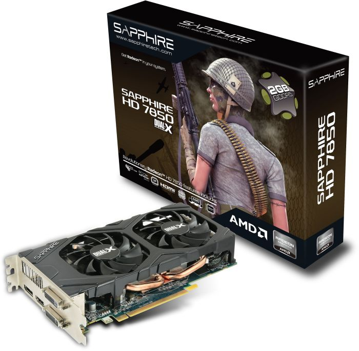 Sapphire Radeon HD 7850, 2GB GDDR5, 2x DVI, HDMI, DisplayPort, full retail (11200-07-40G)