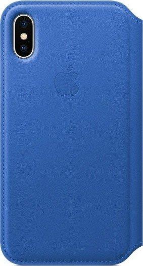 Apple Leder Folio Case für iPhone X electricblau (MRGE2ZM/A)