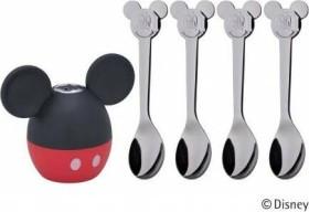 WMF Mickey Mouse salt shaker children spoon set, 4-piece. (12.9639.6040)