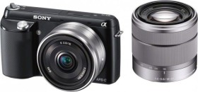 Sony Alpha NEX-F3 schwarz mit Objektiv AF E 16mm 2.8 Pancake und 18-55mm 3.5-5.6 OSS (NEX-F3DB)
