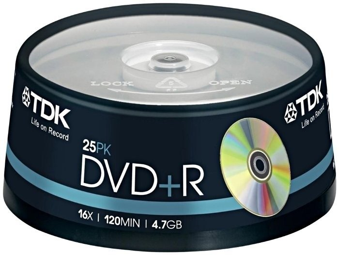 TDK DVD+R 4.7GB 16x, 25-pack Spindle (T19443)