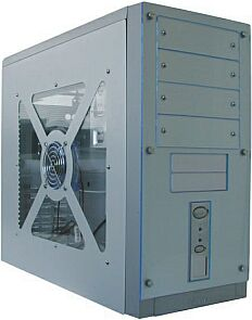 MS-Tech LC-800 Midi-Tower with side panel window, aluminum (without power supply)