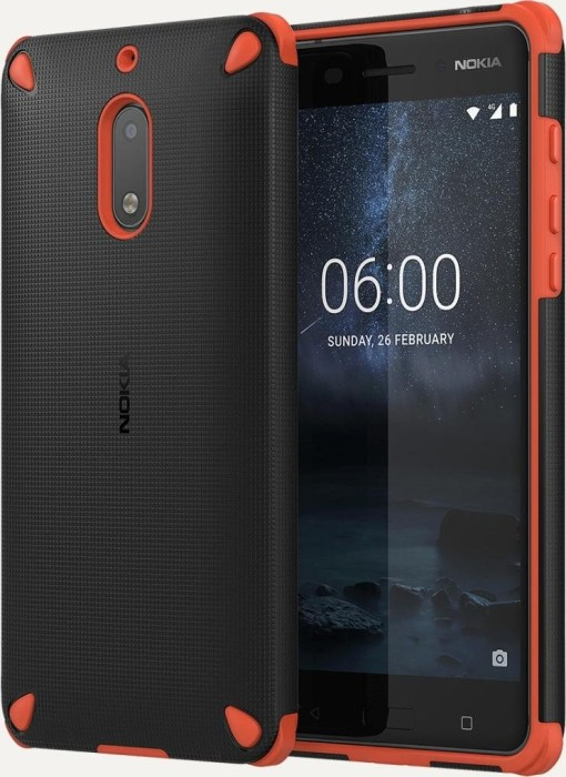 Nokia CC-501 Rugged Impact Case für Nokia 6 schwarz/orange (1A21MKV00VA)