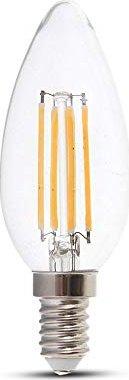 V-Tac Filament LED Kerze E14 4W/827 warmweiß dimmbar (VT-1986/4365) -- via Amazon Partnerprogramm