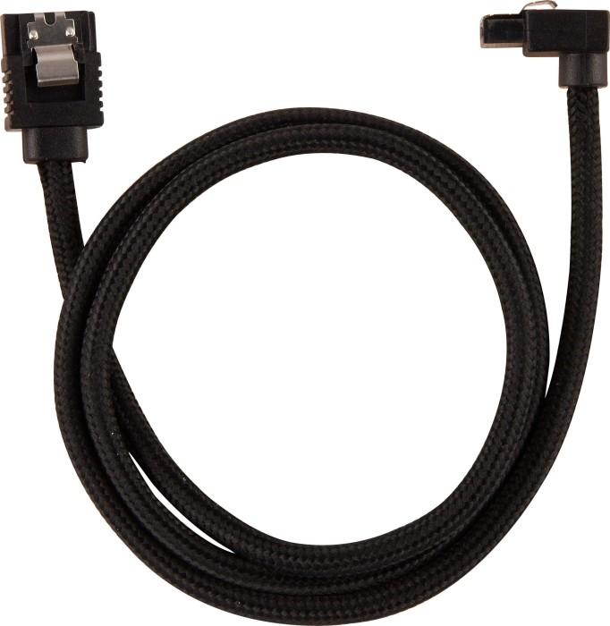 Corsair Premium Sleeved SATA 6Gb/s Kabel schwarz 60cm, gewinkelt (CC-8900282)