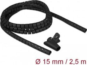 DeLOCK spiral hose cable inlay with pull-in tool, 15mm, 2.5m, black, spiral cable (18835)