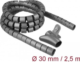DeLOCK spiral hose cable inlay with pull-in tool, 30mm, 2.5m, grey, spiral cable (18846)