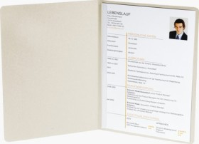 Exacompta Bewerbungsmappe Success A4, 2-teilig mit 1 Klemmschiene, Manila-Karton in Leinen-Optik, elfenbein (49104B)