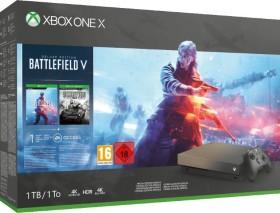 Microsoft Xbox One X - 1TB Battlefield V Gold Rush Special Edition Bundle schwarz/beige