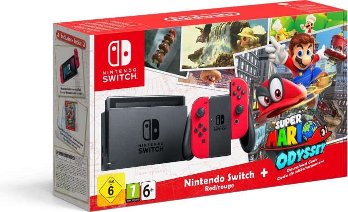 Nintendo Switch Konsole, Super Mario Odyssey Bundle, rot