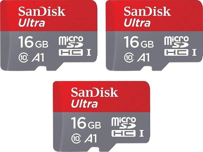 SanDisk Ultra R98 microSDHC 16GB, UHS-I U1, A1, Class 10, 3er-Pack (SDSQUAR-016G-GN6MM)
