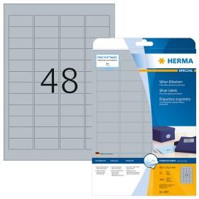HERMA 4221 Typenschildetiketten A4 45,7x21,2mm 1200 Stück stark haftend silber