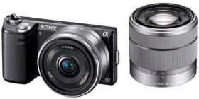 Sony Alpha NEX-5N schwarz mit Objektiv AF E 16mm 2.8 Pancake und 18-55mm 3.5-5.6 OSS (NEX-5NDB)