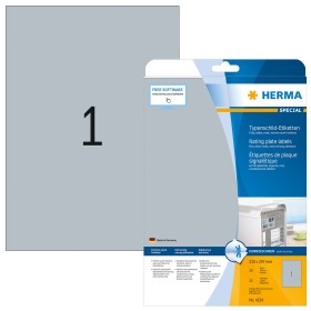 Herma nameplate labels Special A4, silver, 25 sheets (4224)