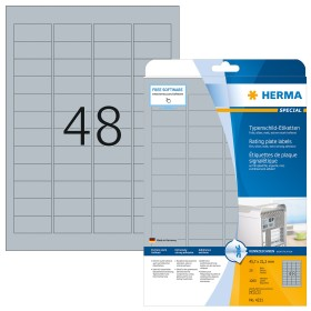 Herma Typenschildetiketten Special 45.7x21.2mm, silber, 25 Blatt (4221)