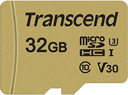 Transcend 500S R95/W60 microSDHC 32GB Kit, UHS-I U3, Class 10 (TS32GUSD500S) -- via Amazon Partnerprogramm
