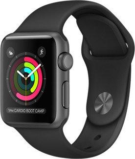 Apple Watch Series 1 Aluminium 38mm dunkelgrau mit Sportarmband schwarz