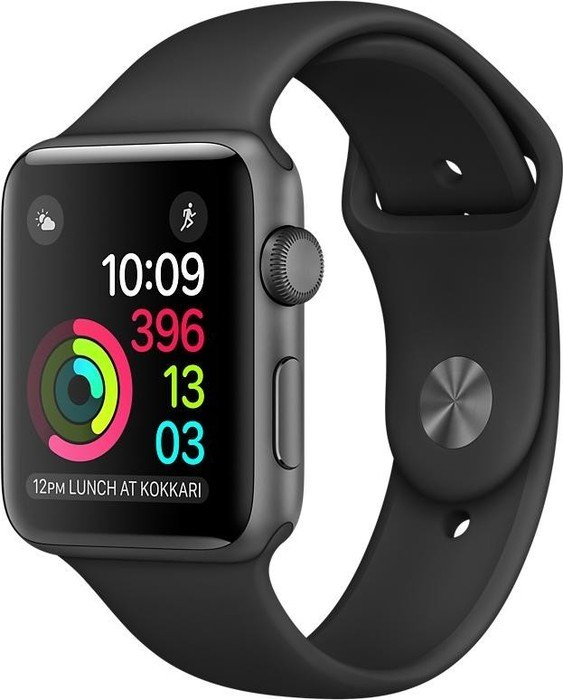 Apple Watch Series 1 Aluminium 42mm dunkelgrau mit Sportarmband schwarz