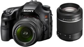 Sony Alpha 65 schwarz mit Objektiv AF 18-55mm DT und 55-200mm DT (SLT-A65VY)