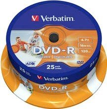 Verbatim DVD-R 4.7GB 16x,  25er Spindel printable (43538)