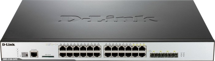 D-Link DWS-316 Rackmount Gigabit Unified Managed Switch, 20x RJ-45, 4x RJ-45/SFP, PoE+ (DWS-3160-24PC)