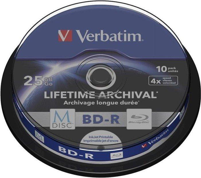 Verbatim M-DISC BD-R 25GB 4x, 10er Spindel printable (43825)