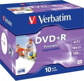 Verbatim DVD+R 4.7GB 16x, 10er Jewelcase Wide Inkjet printable (43508)