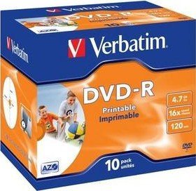 Verbatim DVD-R 4.7GB 16x, 10er Jewelcase printable (43521)