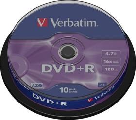 Verbatim DVD+R 4.7GB 16x, 10-pack Spindle (43498)
