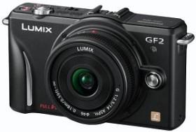 Panasonic Lumix DMC-GF2 schwarz mit Objektiv Lumix G Vario 14-42mm OIS und Lumix G 14mm (DMC-GF2W)