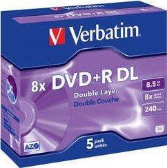 Verbatim DVD+R 8.5GB DL 8x, 5er Jewelcase (43541)