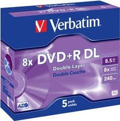 Verbatim DVD+R 8.5GB DL 8x, 5-pack Jewelcase (43541)